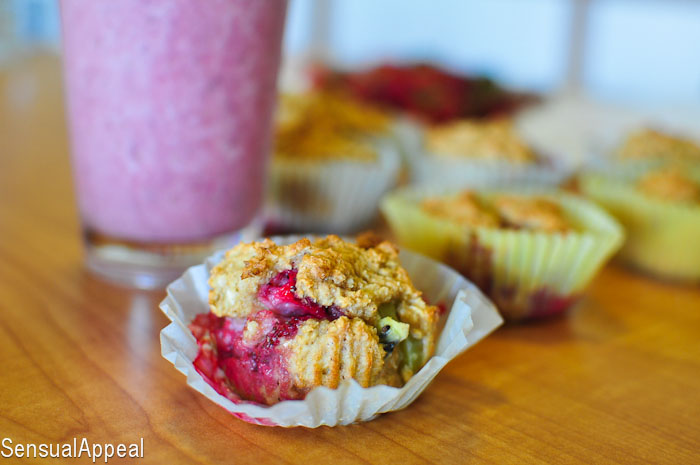 Strawberry Kiwi Quinoa Muffins (Recipe)